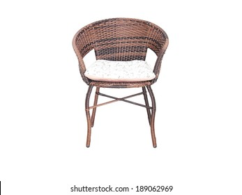 wicker chair on a white background.