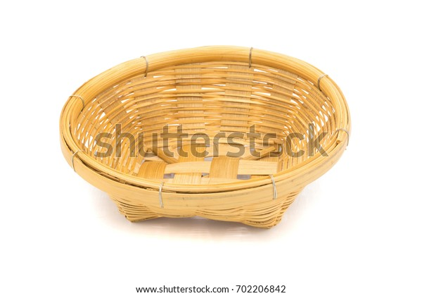Wicker dish isolated on a white background.