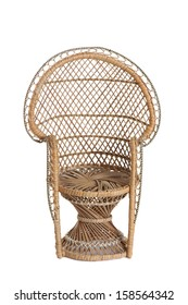 wicker doll chair isolated on white background