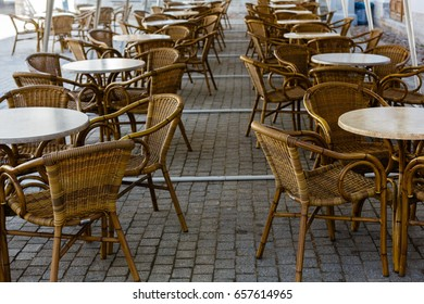 Wicker furniture in the summer café outside