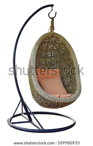 Wicker Hanging Chair Swing Hanging On A Chain With Blue Cushions Orange  Pillow Isolated On White