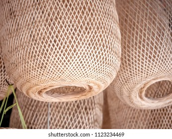 Wicker to make hanging lights lamp. Wicker handcraft are widely used Asia. In Thailand, it is used in various forms, vintage style