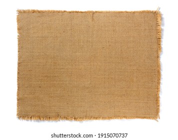Wicker napkin from burlap isolated on a white background close-up