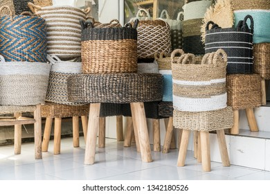 Wicker rattan chairs and other household interior objects  sold in Indonesian shop
