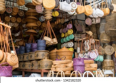 Wicker rattan household interior and other objects  sold in Indonesian shop