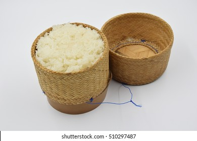 a wicker rice and sticky rice  on white background