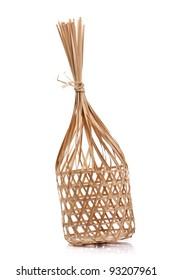 Wicker round bamboo basket