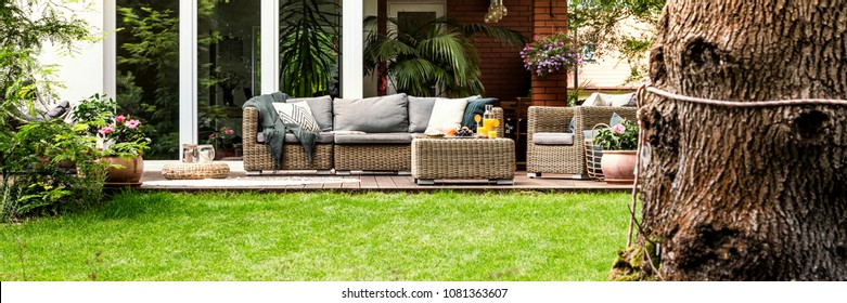 Wicker sofa with pillows and table with fruits and juice standing on garden terrace by the house with glass door