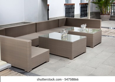 Wicker sofa set in yard