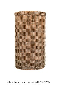 Wicker trash basket isolated on white