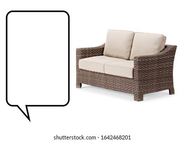 Wicker Two Seater Sofa Isolated on White. Side View of Outdoor Dining 2 Seater Sofa Set with Brown Beige Fabric Cushion Seat. Outside Patio Furniture. All-Weather Garden Rattan Loveseat