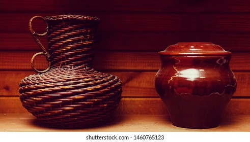 Wicker wine jug farm vitage
