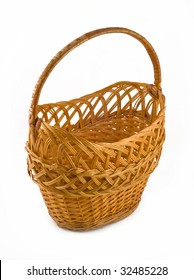 Wicker woven basket over white background