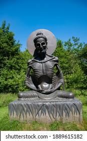WICKLOW, IRELAND - JUNE 30, 2014: Victor's Way, located near Roundwood, County Wicklow, Ireland, is a privately owned meditation garden notable for its black granite sculptures.
