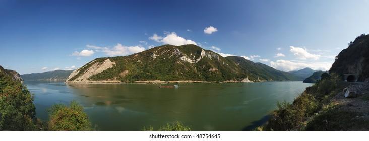 wide 180+ panorama image of Danube's Djerdap gorge(iron gate)