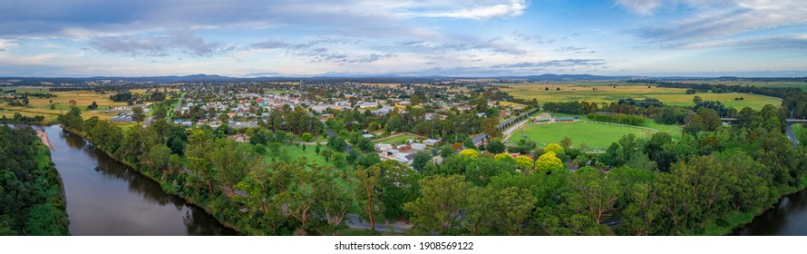 Wide aerial panorama of Orbost town nested near Snowy River in Victoria, Australia - Shutterstock ID 1908569122