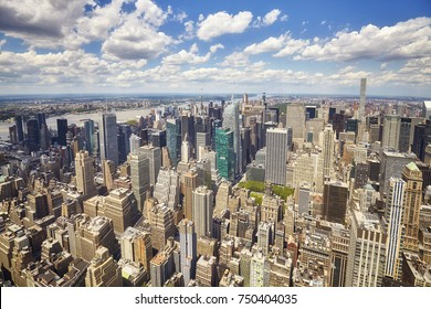Wide angle aerial picture of New York City Manhattan skyline, USA.