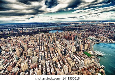 Wide angle aerial view of Midtown Manhattan