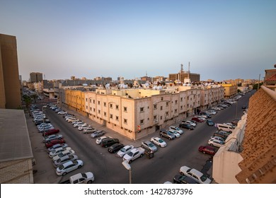 Wide Angle Aerial view o Dammam rural street.City Dammam County Saudi Arabia Photo taken Month of April 27 year 2018