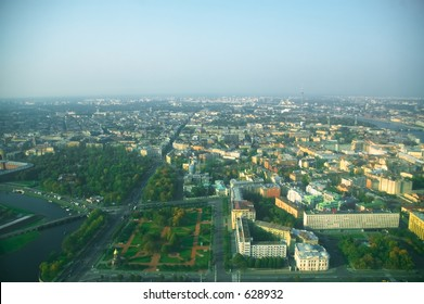 Wide angle aerial view of St. Petersburg [#4906]
