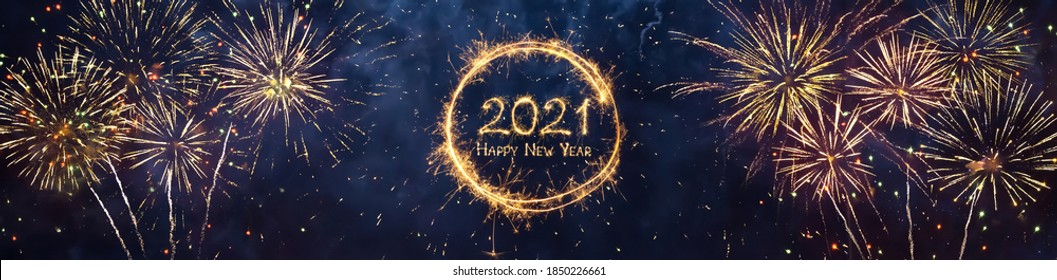 Wide Angle holiday web banner Happy New Year 2021. Beautiful Panoramic header for website or billboard with Golden sparkling text Happy New Year 2021 written sparklers on festive blue background.