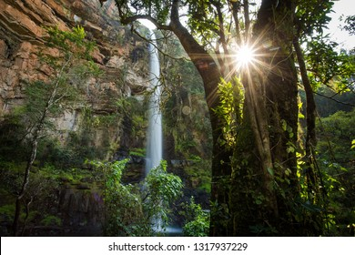 Wide angle image of the majestic Lone Creek Falls in the Sabie Region of Mpumalanga in South Africa