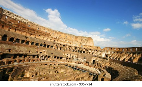 Wide angle inner view of the Collosseum
