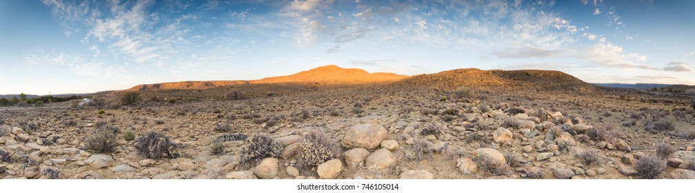 Wide angle landscape views of the scenic Kalahari region in the northern cape province of South Africa