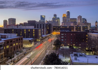 A Wide Angle Long Exposure Shot of a One-Way Heading into Downtown Minneapolis during a Winter Twilight