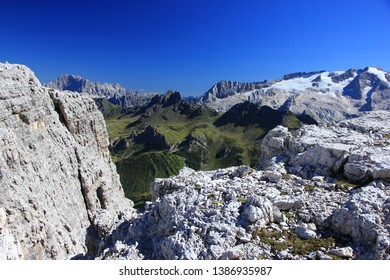 Wide angle mountain scene with mountains  and on the right the glacier Marmolada near Sellaronda, South Tyrol, Italy