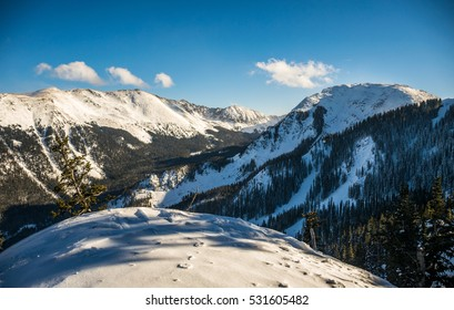 Wide Angle Overlooking Taos Valley with Kachina Peak on the right and Wheeler peak on the Left The Highest Mountain Top in New Mexico Winter Wonderland in the Mountain Landscape