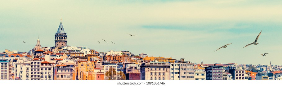 Wide angle panorama of Istanbul with Galata Tower at skyline and seagulls over the old town. Panoramic view on medieval tower as travel background for banner with space for your text on the top.