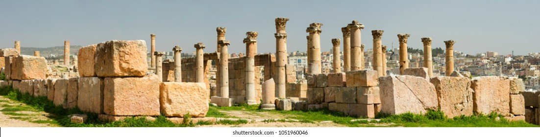 wide angle panorama with ruins and columns in Jerash town in Jordan