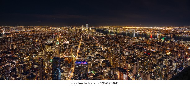 Wide Angle Panorama of the World Trade Center and Lower Manhattan