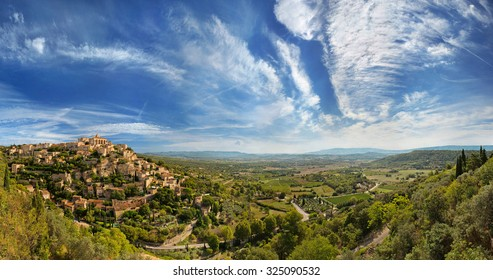 Wide angle panoramic view of Gordes. Provence. France