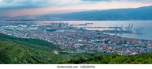 Wide angle panoramic view of Kocaeli city. Kocaeli Province is located at the easternmost end of the Marmara Sea around the Gulf of Izmit.