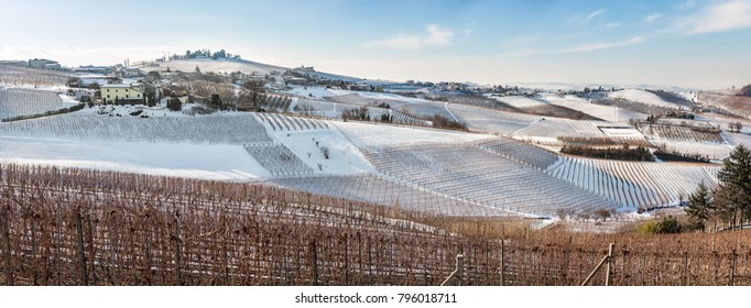 Wide angle panoramic view of Langhe Region in snowy winter, italy