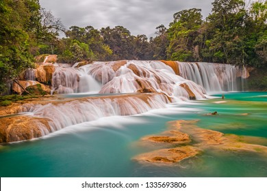 Wide angle panoramic view of the magnificent cascades and waterfalls of Agua Azul in the tropical rainforest of the Chiapas state near Palenque, Mexico.
