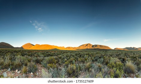 Wide angle panoramic view over the plains of the karoo just outside touwsrivier in the western cape of south africa