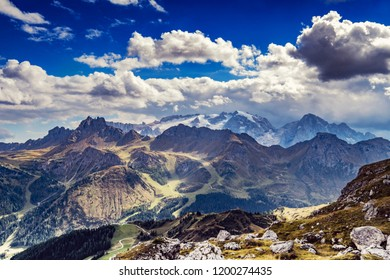 Wide angle photo of the Dolomites, Italy, with view to the Marmolada glacier