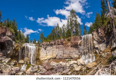 Wide angle photograph of Paulina Creek Falls taken from below the falls. Paulina Creek drains Paulina Lake in the Newberry Volcano Caldera, Newberry National Volcanic Monument, Oregon.