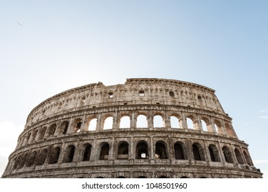 Wide angle picture of Coliseum, important tradmark of Rome, during morning time.