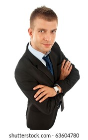 wide angle picture of a young business man over white