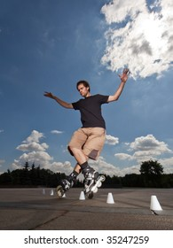 Wide angle portrait of a training rollerskater
