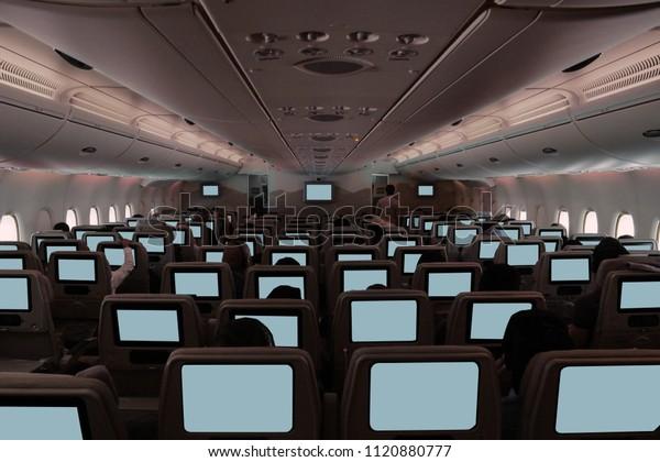 Wide Angle Shot Airplane Interior Ready Stock Photo (Edit