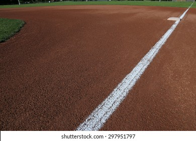 A wide angle shot of a baseball field from First base.
