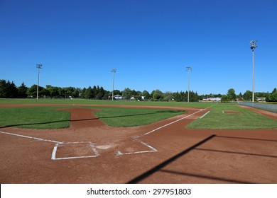 A wide angle shot of a baseball field.