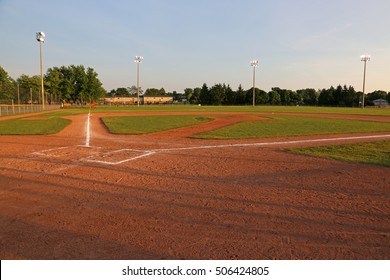 A wide angle shot of a baseball field.