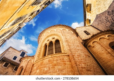 A wide angle shot of a church in Kotor Old Town, Montenegro