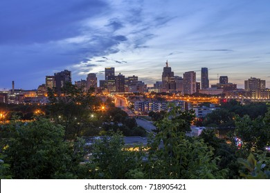 A Wide Angle Shot of the City Lights of St. Paul, Minnesota Coming On during a Summer Twilight